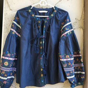Navy Blue Bohemian Floral Tunic